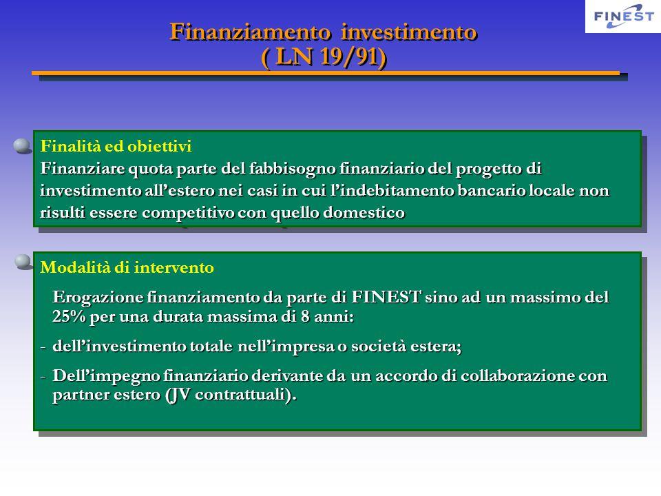 Finanziamento investimento ( LN 19/91) Finanziamento investimento ( LN 19/91) Finalità ed obiettivi Finanziare quota parte del fabbisogno finanziario