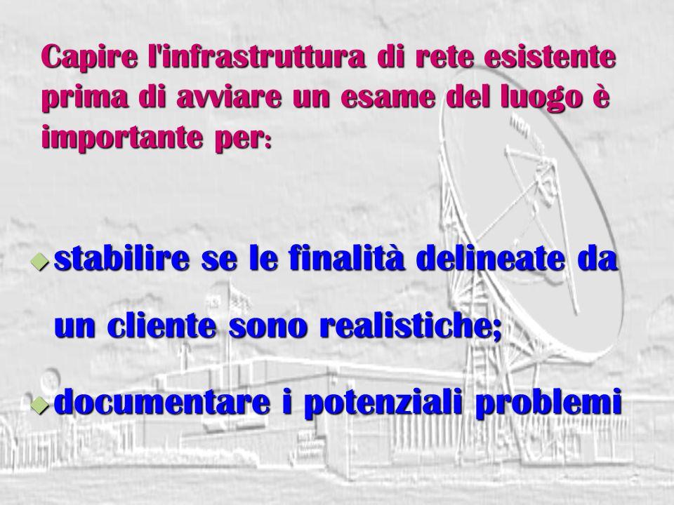 Capire l infrastruttura di rete esistente prima di avviare un esame del luogo è importante per :  stabilire se le finalità delineate da un cliente sono realistiche;  documentare i potenziali problemi