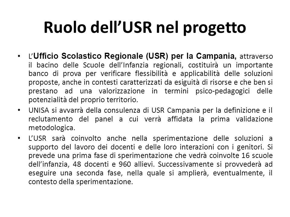 Ruolo dell'USR nel progetto L' Ufficio Scolastico Regionale (USR) per la Campania, attraverso il bacino delle Scuole dell'Infanzia regionali, costitui