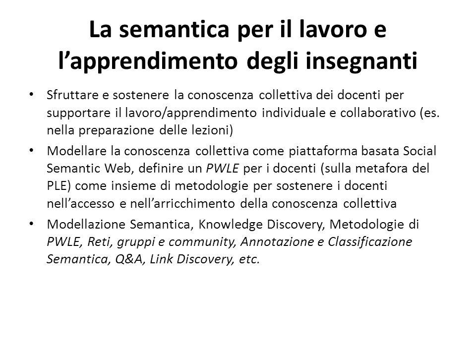 La semantica per il lavoro e l'apprendimento degli insegnanti Sfruttare e sostenere la conoscenza collettiva dei docenti per supportare il lavoro/appr