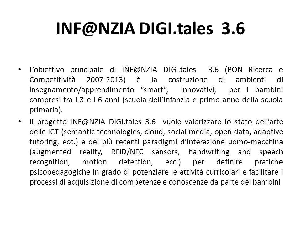 INF@NZIA DIGI.tales 3.6 L'obiettivo principale di INF@NZIA DIGI.tales 3.6 (PON Ricerca e Competitività 2007-2013) è la costruzione di ambienti di inse
