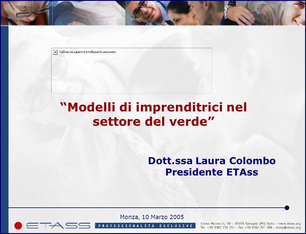 Monza, 10 Marzo 2005 Modelli di imprenditrici nel settore del verde Dott.ssa Laura Colombo Presidente ETAss