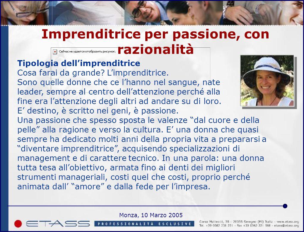 Monza, 10 Marzo 2005 Imprenditrice per passione, con razionalità Tipologia dell'imprenditrice Cosa farai da grande.