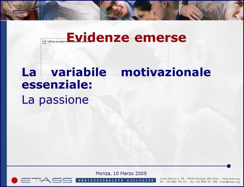 Monza, 10 Marzo 2005 Evidenze emerse La variabile motivazionale essenziale: La passione