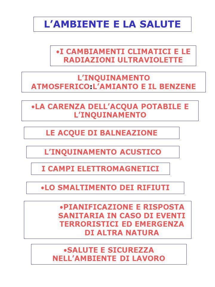 L'AMBIENTE E LA SALUTE I CAMBIAMENTI CLIMATICI E LE RADIAZIONI ULTRAVIOLETTE L'INQUINAMENTO ATMOSFERICO:L'AMIANTO E IL BENZENE LA CARENZA DELL'ACQUA POTABILE E L'INQUINAMENTO LE ACQUE DI BALNEAZIONE L'INQUINAMENTO ACUSTICO I CAMPI ELETTROMAGNETICI LO SMALTIMENTO DEI RIFIUTI PIANIFICAZIONE E RISPOSTA SANITARIA IN CASO DI EVENTI TERRORISTICI ED EMERGENZA DI ALTRA NATURA SALUTE E SICUREZZA NELL'AMBIENTE DI LAVORO