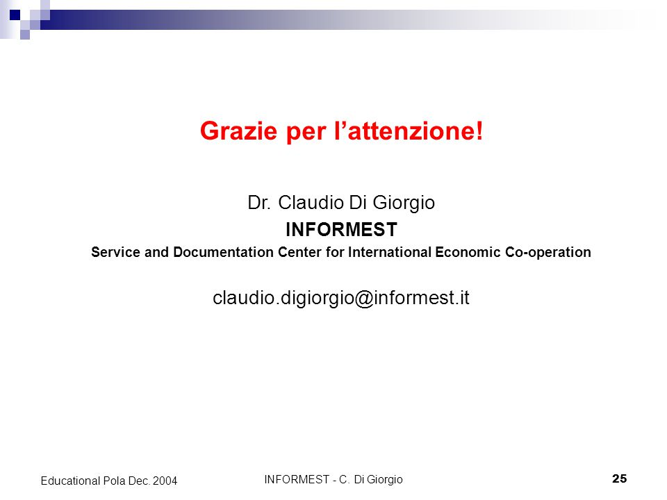 INFORMEST - C. Di Giorgio25 Educational Pola Dec.