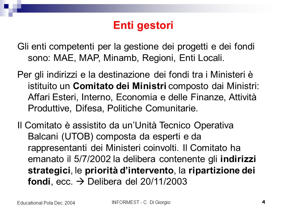 INFORMEST - C. Di Giorgio4 Educational Pola Dec.