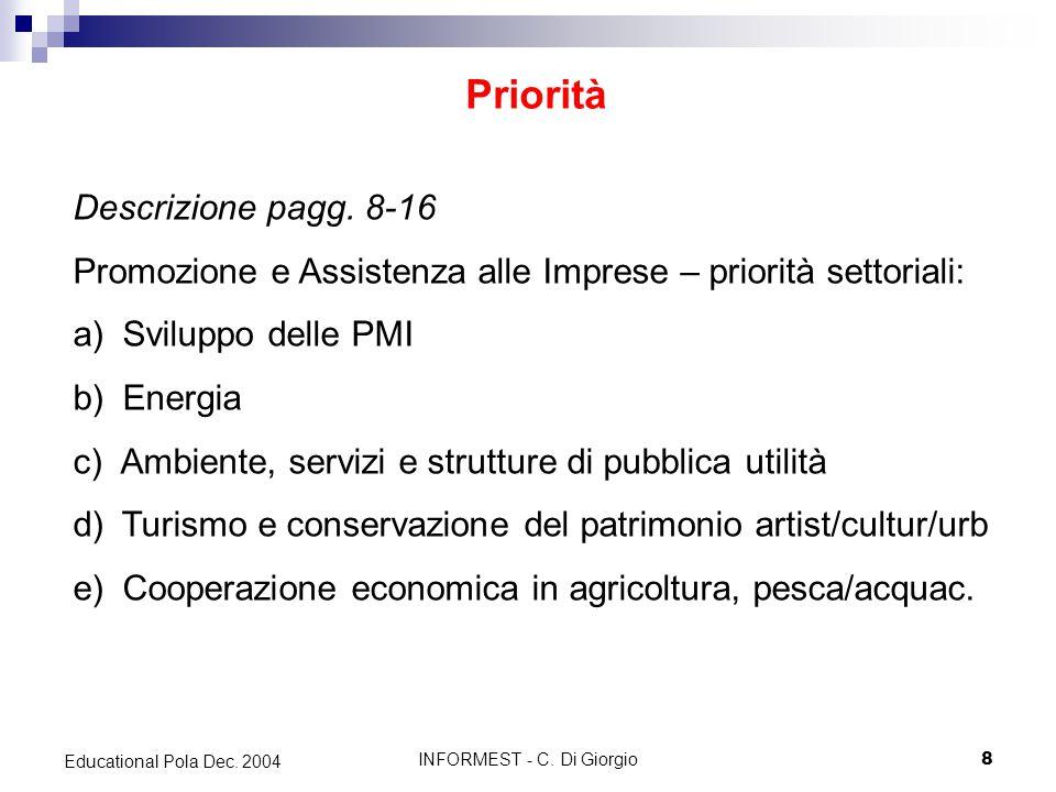 INFORMEST - C. Di Giorgio8 Educational Pola Dec. 2004 Priorità Descrizione pagg.