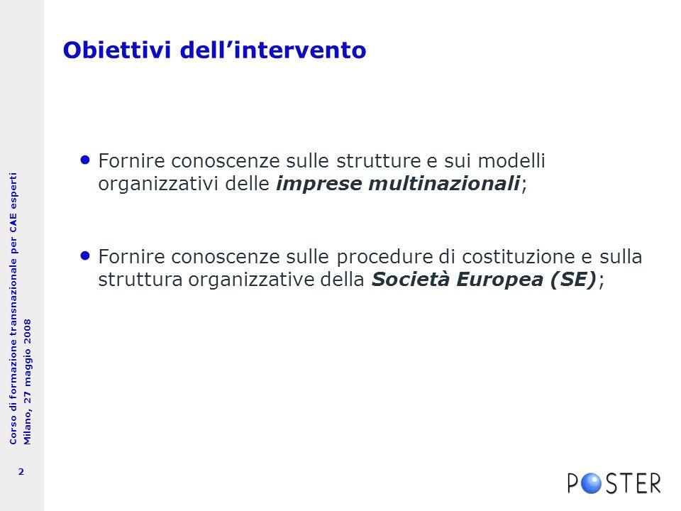 Corso di formazione transnazionale per CAE esperti Milano, 27 maggio 2008 3 Le imprese multinazionali