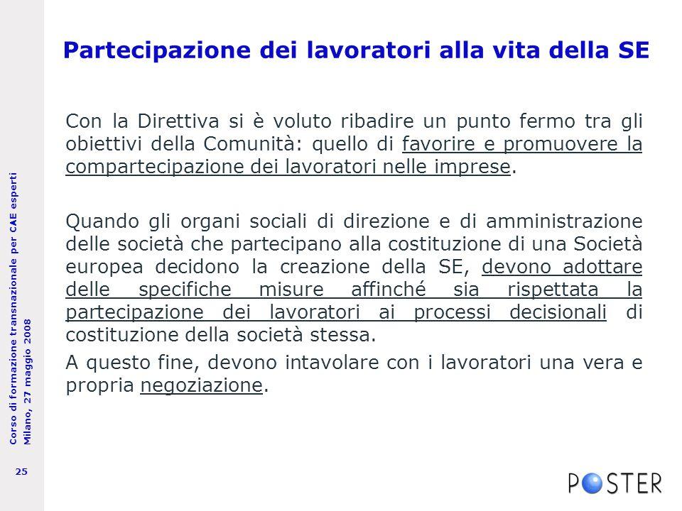 Corso di formazione transnazionale per CAE esperti Milano, 27 maggio 2008 25 Partecipazione dei lavoratori alla vita della SE Con la Direttiva si è voluto ribadire un punto fermo tra gli obiettivi della Comunità: quello di favorire e promuovere la compartecipazione dei lavoratori nelle imprese.