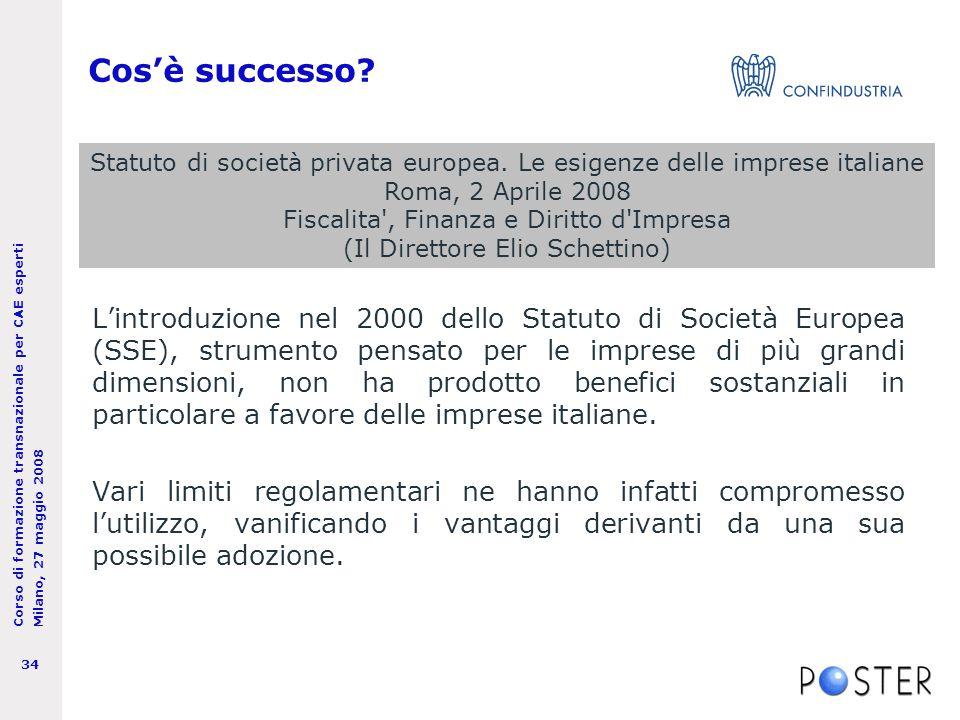 Corso di formazione transnazionale per CAE esperti Milano, 27 maggio 2008 34 Cos'è successo.