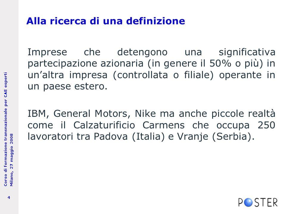 Corso di formazione transnazionale per CAE esperti Milano, 27 maggio 2008 5 Come misurare il fenomeno.