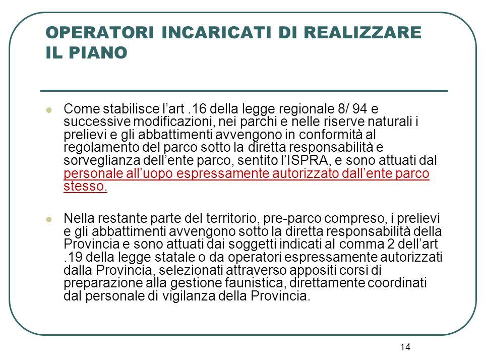 14 OPERATORI INCARICATI DI REALIZZARE IL PIANO Come stabilisce l'art.16 della legge regionale 8/ 94 e successive modificazioni, nei parchi e nelle ris