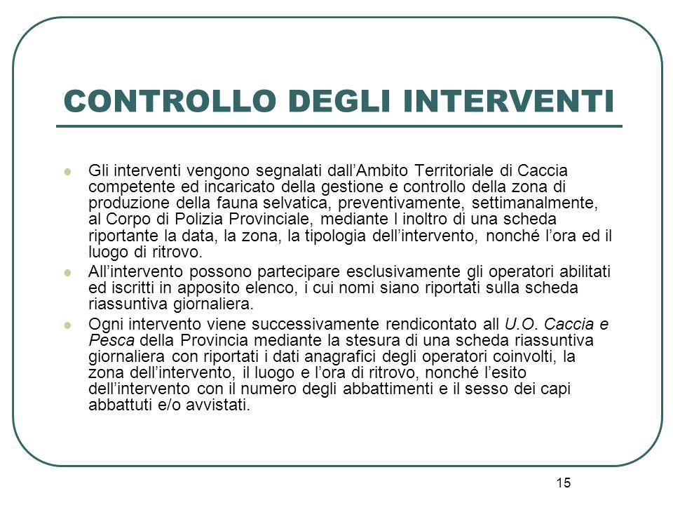 15 CONTROLLO DEGLI INTERVENTI Gli interventi vengono segnalati dall'Ambito Territoriale di Caccia competente ed incaricato della gestione e controllo