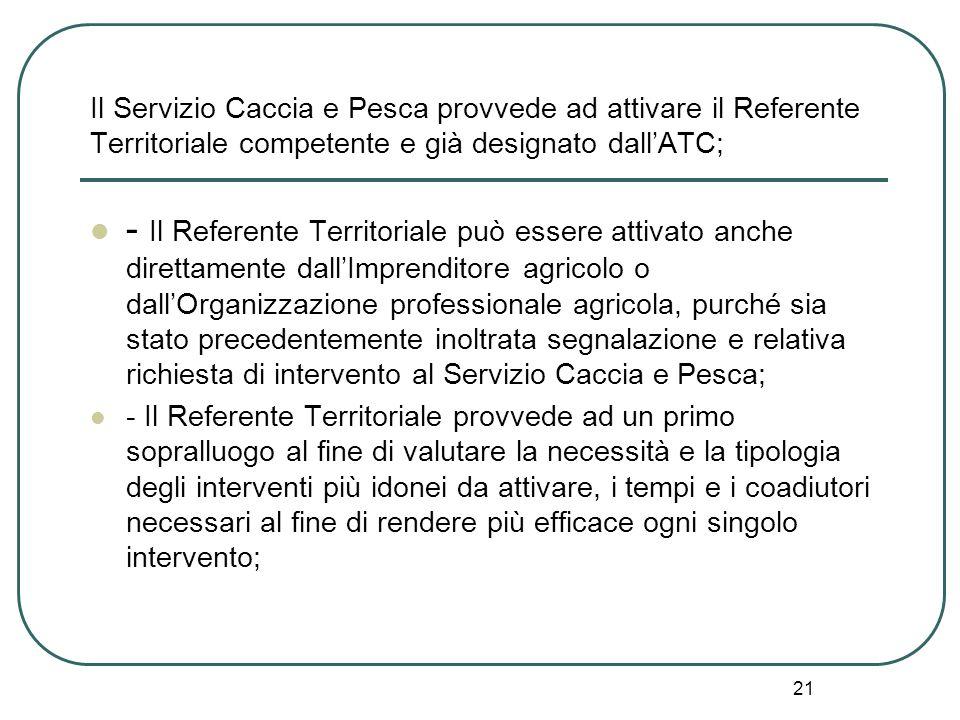21 Il Servizio Caccia e Pesca provvede ad attivare il Referente Territoriale competente e già designato dall'ATC; - Il Referente Territoriale può esse