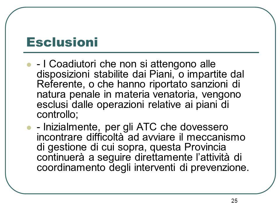 25 Esclusioni - I Coadiutori che non si attengono alle disposizioni stabilite dai Piani, o impartite dal Referente, o che hanno riportato sanzioni di