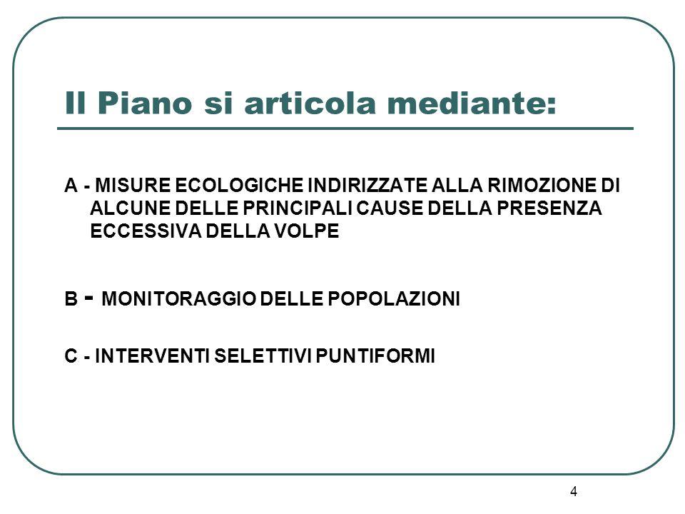 4 Il Piano si articola mediante: A - MISURE ECOLOGICHE INDIRIZZATE ALLA RIMOZIONE DI ALCUNE DELLE PRINCIPALI CAUSE DELLA PRESENZA ECCESSIVA DELLA VOLP