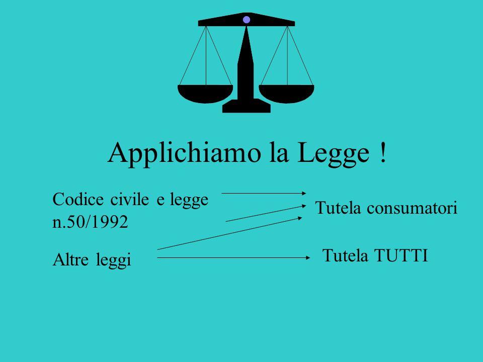Applichiamo la Legge ! Codice civile e legge n.50/1992 Tutela consumatori Altre leggi Tutela TUTTI
