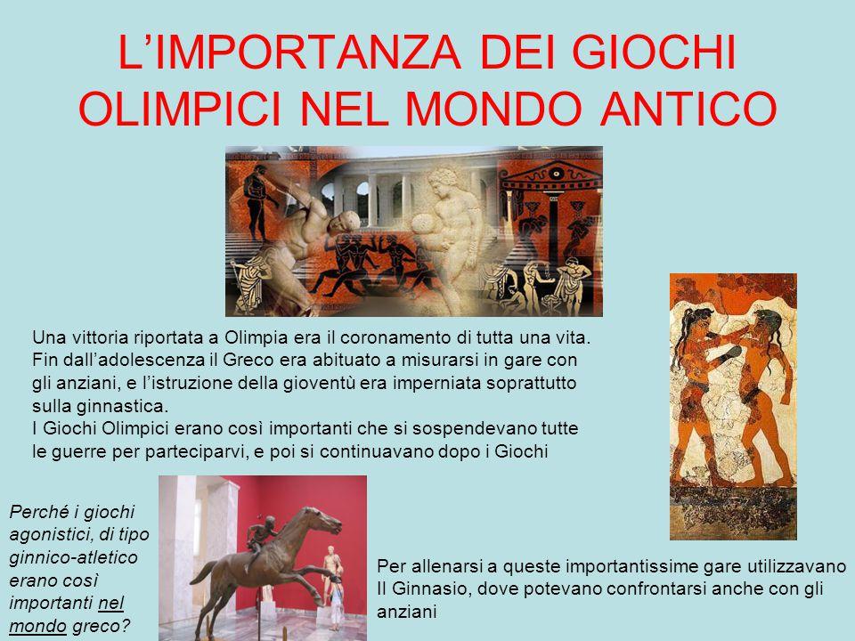 IL GINNASIO Ogni città greca possedeva un ginnasio, costituito dalla palestra vera e propria e da una pista per le corse. Era la palestra utilizzata d