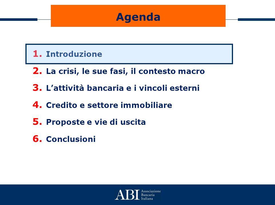 Agenda 1. Introduzione 2. La crisi, le sue fasi, il contesto macro 3. L'attività bancaria e i vincoli esterni 4. Credito e settore immobiliare 5. Prop