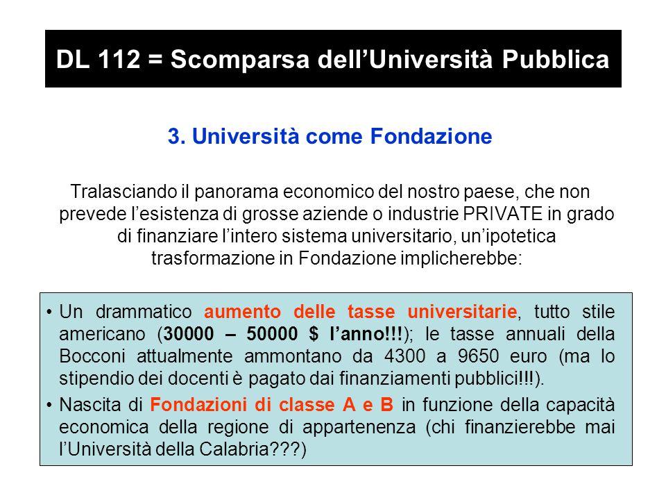 DL 112 = Scomparsa dell'Università Pubblica 3.