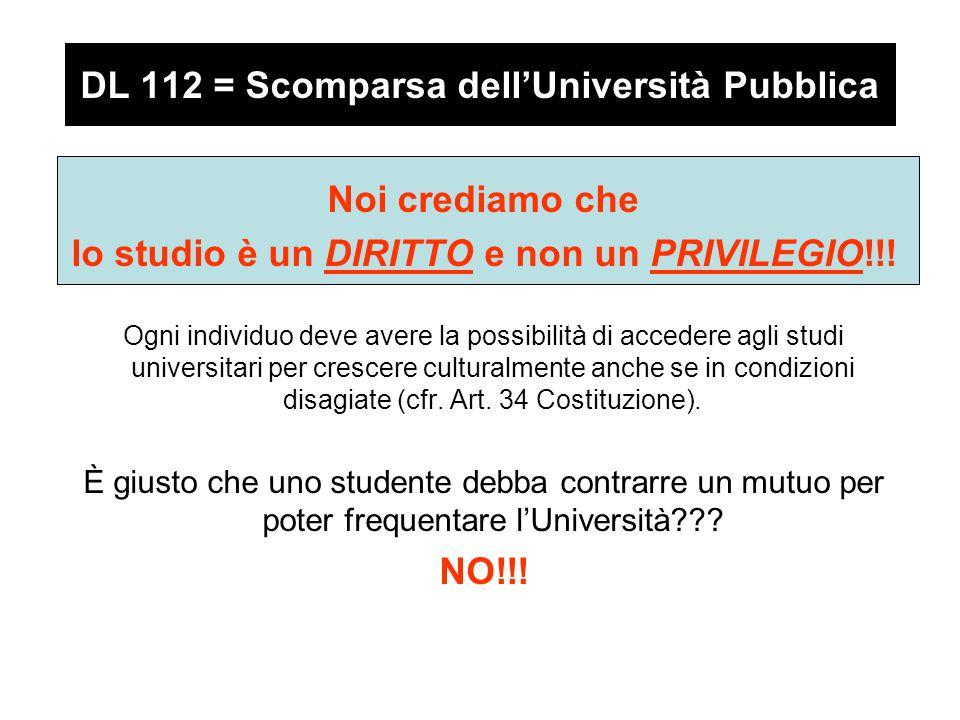 DL 112 = Scomparsa dell'Università Pubblica Noi crediamo che lo studio è un DIRITTO e non un PRIVILEGIO!!.