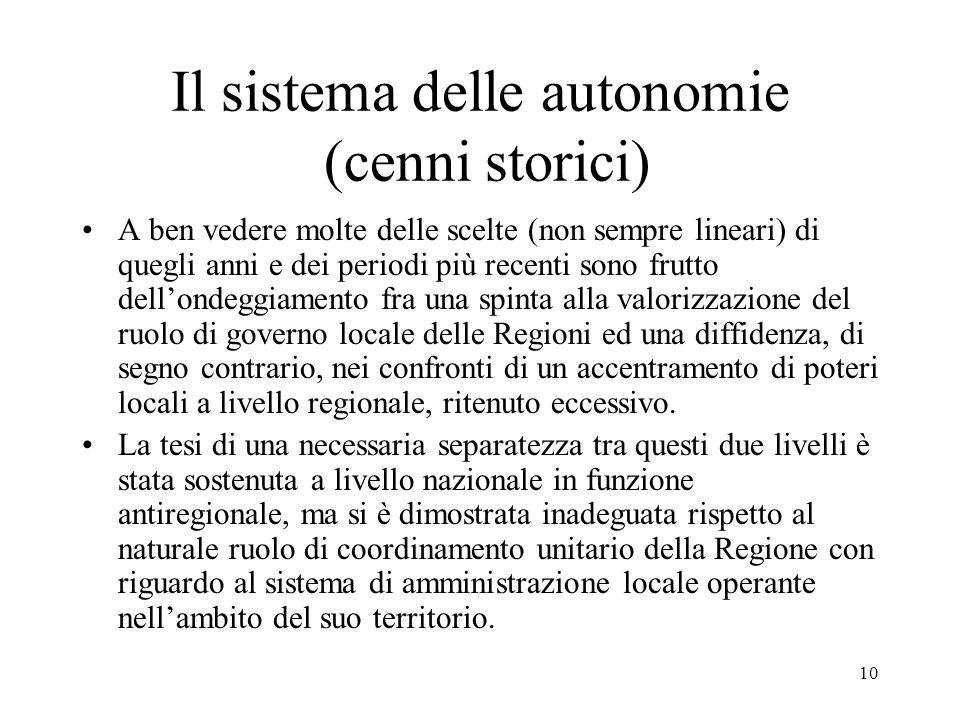 10 Il sistema delle autonomie (cenni storici) A ben vedere molte delle scelte (non sempre lineari) di quegli anni e dei periodi più recenti sono frutt