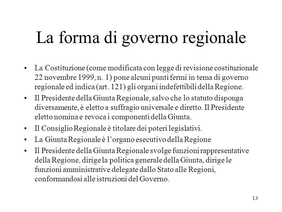 13 La forma di governo regionale La Costituzione (come modificata con legge di revisione costituzionale 22 novembre 1999, n. 1) pone alcuni punti ferm