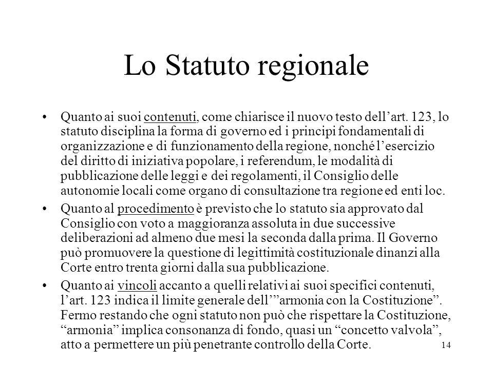14 Lo Statuto regionale Quanto ai suoi contenuti, come chiarisce il nuovo testo dell'art. 123, lo statuto disciplina la forma di governo ed i principi
