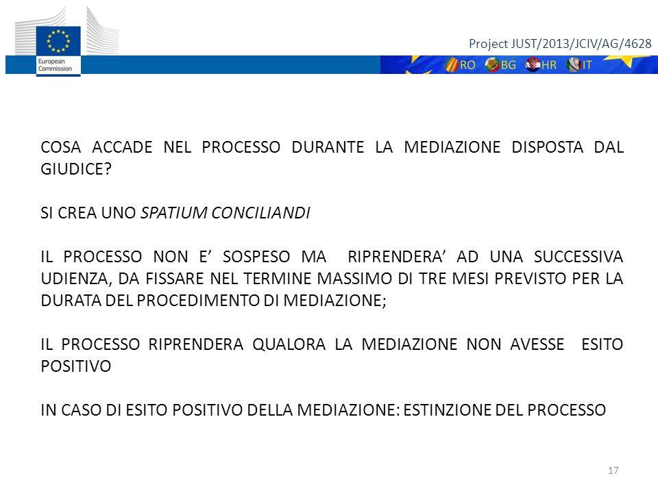 Project JUST/2013/JCIV/AG/4628 17 COSA ACCADE NEL PROCESSO DURANTE LA MEDIAZIONE DISPOSTA DAL GIUDICE.