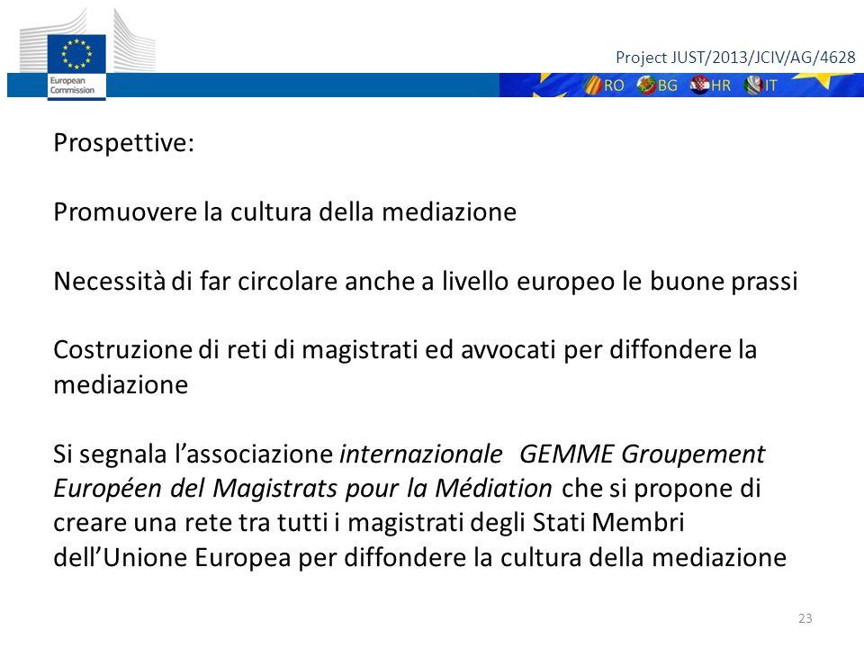Project JUST/2013/JCIV/AG/4628 23 Prospettive: Promuovere la cultura della mediazione Necessità di far circolare anche a livello europeo le buone prassi Costruzione di reti di magistrati ed avvocati per diffondere la mediazione Si segnala l'associazione internazionale GEMME Groupement Européen del Magistrats pour la Médiation che si propone di creare una rete tra tutti i magistrati degli Stati Membri dell'Unione Europea per diffondere la cultura della mediazione