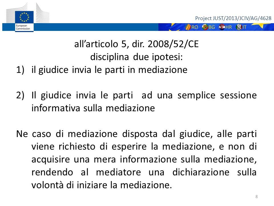 Project JUST/2013/JCIV/AG/4628 9 COME CONCILIARE: LA NATURA DELLA MEDIAZIONE (in particolare della mediazione familiare) CON L'INVITO DEL GIUDICE ALLE PARTI DI RIVOLGERSI ALLA MEDIAZIONE ANCHE A PRESCINDERE DAL LORO CONSENSO?