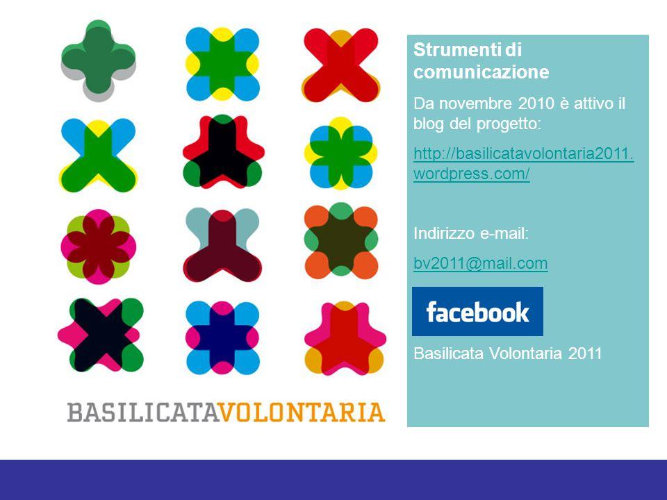 Strumenti di comunicazione Da novembre 2010 è attivo il blog del progetto: http://basilicatavolontaria2011.