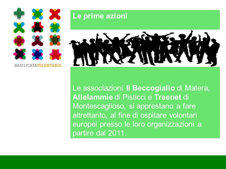 Le prime azioni Le associazioni Il Beccogiallo di Matera, Allelammie di Pisticci e Treenet di Montescaglioso, si apprestano a fare altrettanto, al fine di ospitare volontari europei presso le loro organizzazioni a partire dal 2011.