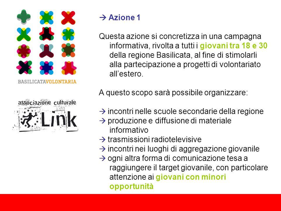  Azione 1 Questa azione si concretizza in una campagna informativa, rivolta a tutti i giovani tra 18 e 30 della regione Basilicata, al fine di stimolarli alla partecipazione a progetti di volontariato all'estero.