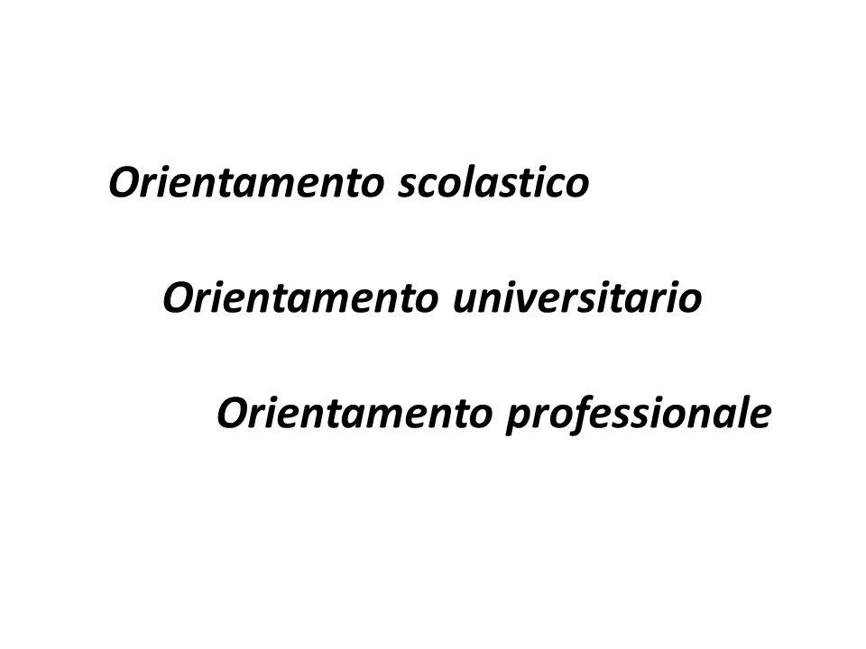 Orientamento scolastico Orientamento universitario Orientamento professionale