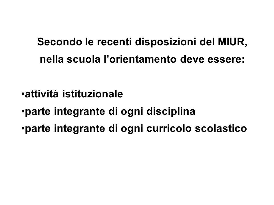 Secondo le recenti disposizioni del MIUR, nella scuola l'orientamento deve essere: attività istituzionale parte integrante di ogni disciplina parte integrante di ogni curricolo scolastico