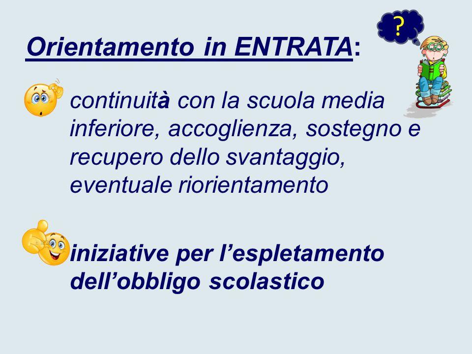 Orientamento in ENTRATA: continuità con la scuola media inferiore, accoglienza, sostegno e recupero dello svantaggio, eventuale riorientamento iniziative per l'espletamento dell'obbligo scolastico