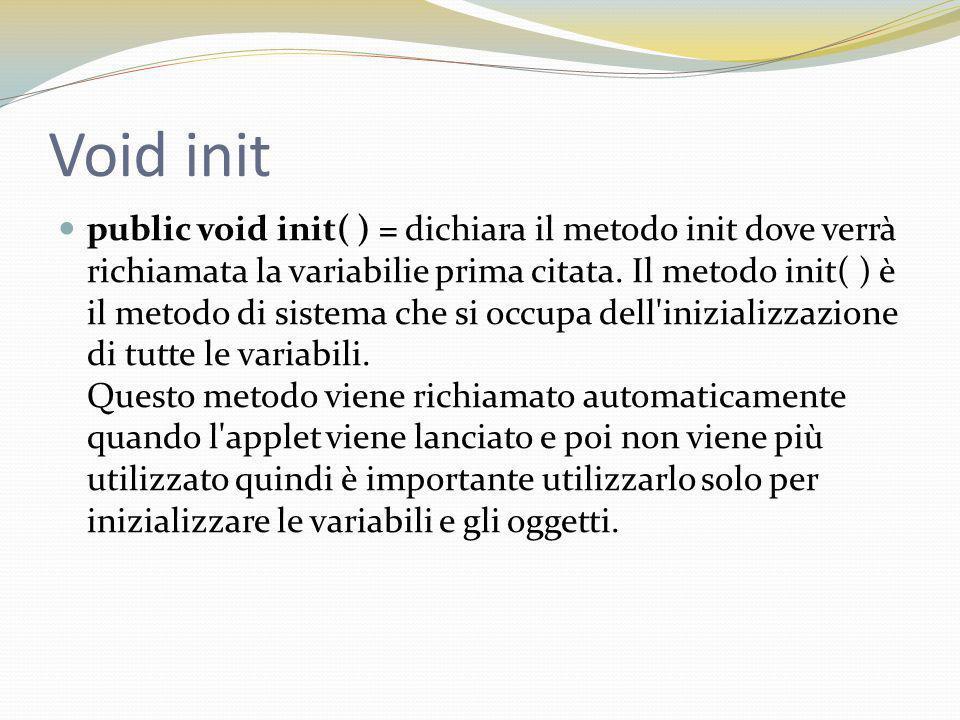 Void init public void init( ) = dichiara il metodo init dove verrà richiamata la variabilie prima citata.