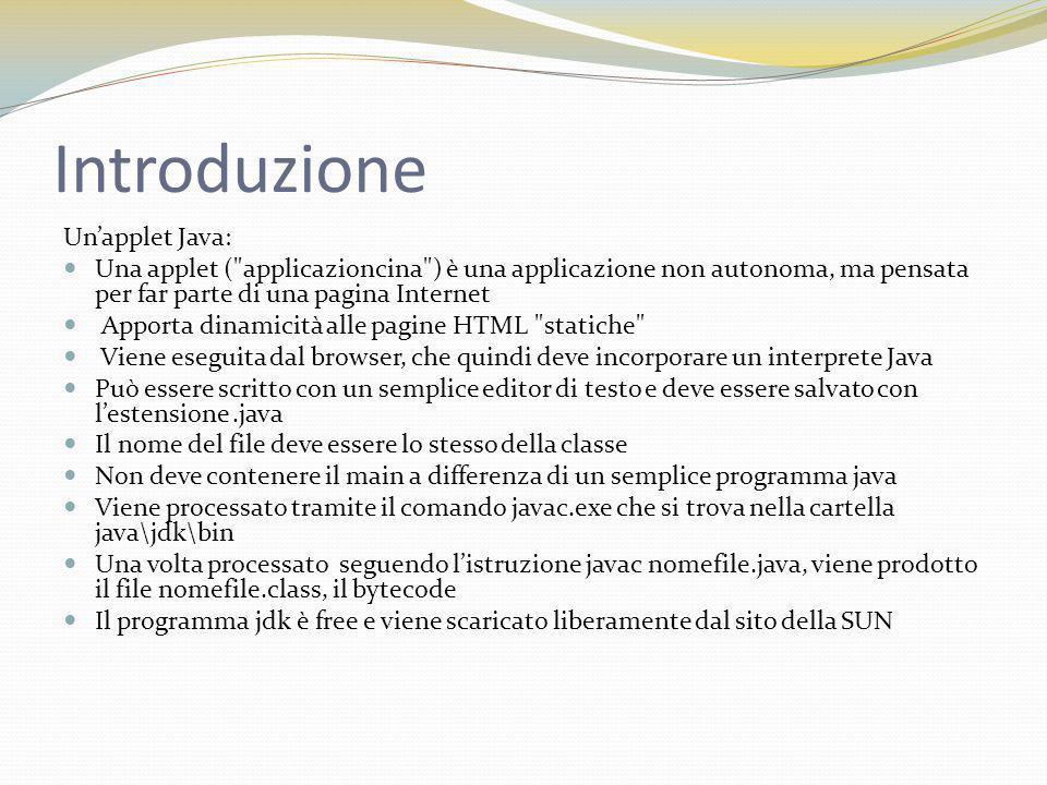 Introduzione è organizzata intorno a 4 metodi standard: init(), che gioca il ruolo del costruttore start() e stop(), chiamati dal browser ogni volta che occorre avviare /fermare l applet destroy(), invocato quando il browser viene chiuso.