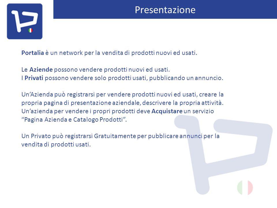 Presentazione Portalia è un network per la vendita di prodotti nuovi ed usati. Le Aziende possono vendere prodotti nuovi ed usati. I Privati possono v