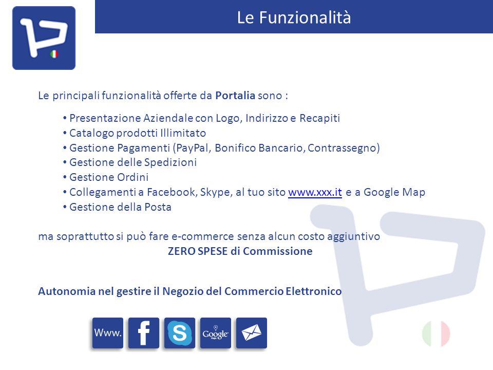 Le Funzionalità Le principali funzionalità offerte da Portalia sono : Presentazione Aziendale con Logo, Indirizzo e Recapiti Catalogo prodotti Illimit