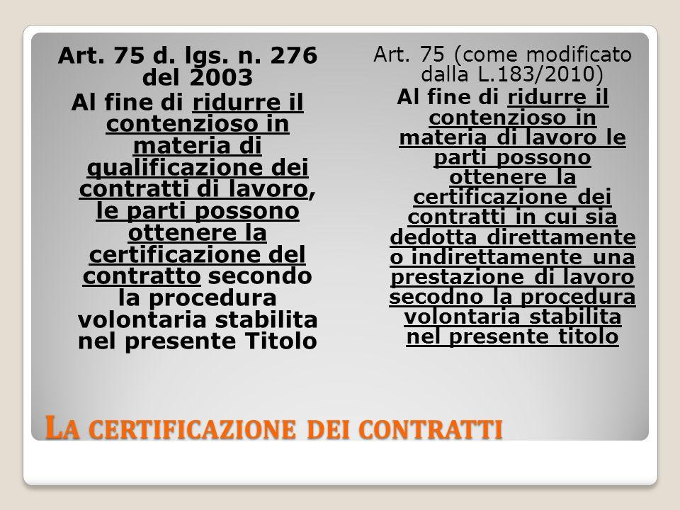 L A CERTIFICAZIONE DEI CONTRATTI Art. 75 d. lgs.