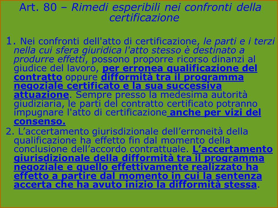 Art. 80 – Rimedi esperibili nei confronti della certificazione 1.