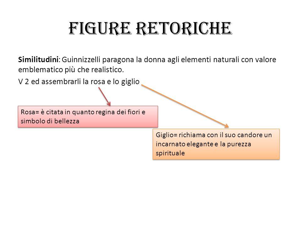 FIGURE RETORICHE Similitudini: Guinnizzelli paragona la donna agli elementi naturali con valore emblematico più che realistico.