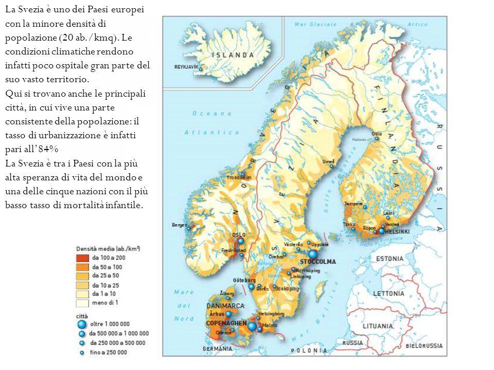 La Svezia è uno dei Paesi europei con la minore densità di popolazione (20 ab./kmq). Le condizioni climatiche rendono infatti poco ospitale gran parte
