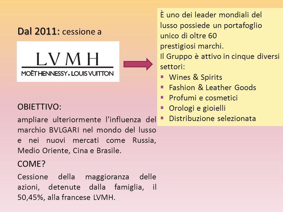 Dal 2011: Dal 2011: cessione a OBIETTIVO: ampliare ulteriormente l'influenza del marchio BVLGARI nel mondo del lusso e nei nuovi mercati come Russia,