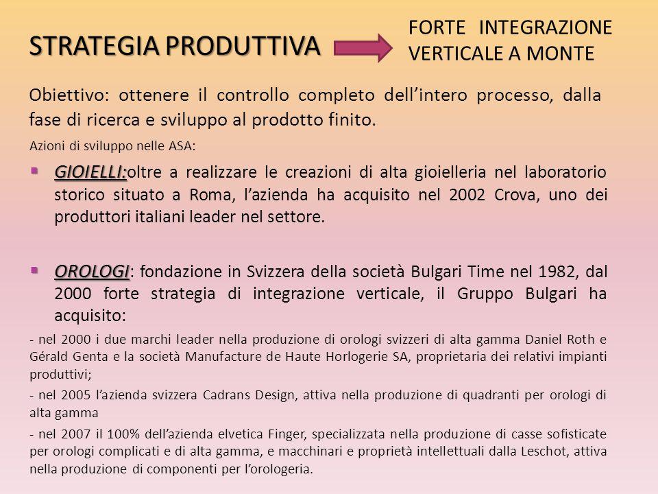 Azioni di sviluppo nelle ASA:  GIOIELLI:  GIOIELLI: oltre a realizzare le creazioni di alta gioielleria nel laboratorio storico situato a Roma, l'az