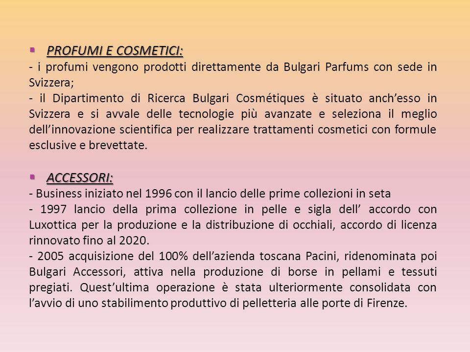  PROFUMI E COSMETICI: - i profumi vengono prodotti direttamente da Bulgari Parfums con sede in Svizzera; - il Dipartimento di Ricerca Bulgari Cosméti