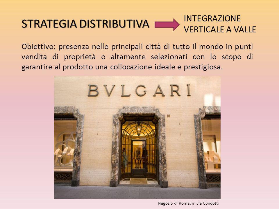 STRATEGIA DISTRIBUTIVA Obiettivo: presenza nelle principali città di tutto il mondo in punti vendita di proprietà o altamente selezionati con lo scopo